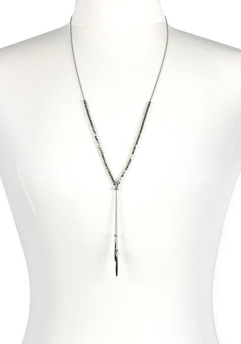 Women's Beaded Lariat Necklace, RHODIUM, hi-res