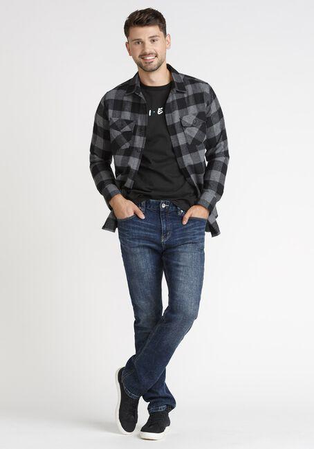 Men's Plaid Flannel Shirt, BLACK, hi-res