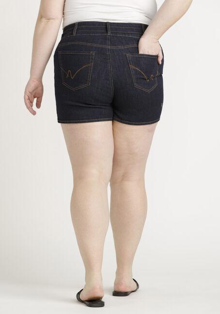 Women's Plus 3 Button Stacked Short, DARK WASH, hi-res