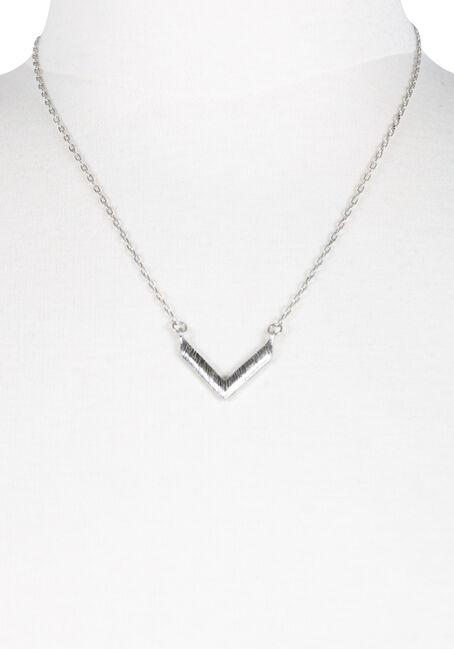 Women's Chevron Necklace, SILVER OX, hi-res