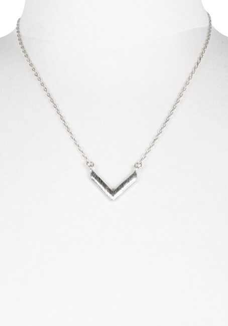 Women's Chevron Necklace, SILVER OX, hi-res