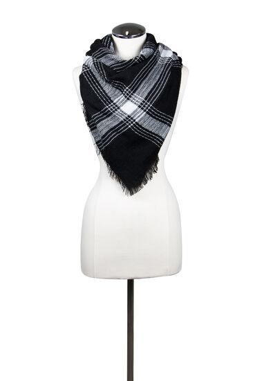Women's Plaid Blanket Scarf, BLK/WHT, hi-res