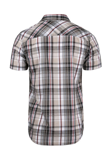 Men's Relaxed Plaid Shirt, BROWN, hi-res