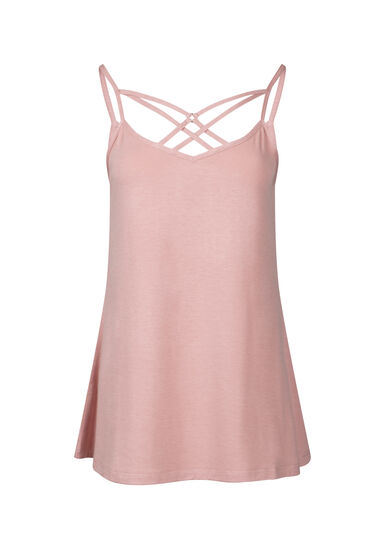 Women's Cage Neck Tank, DUSTY PINK, hi-res