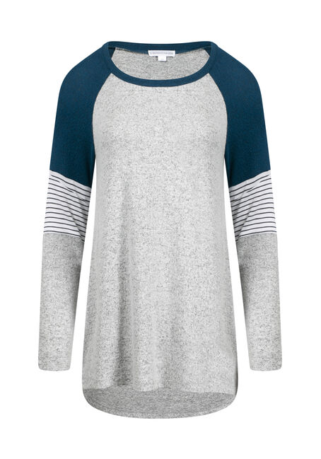 Women's Colour Block Hacci Baseball Top