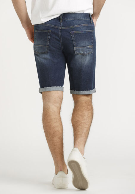 Men's Cuffed Denim Short, DARK WASH, hi-res