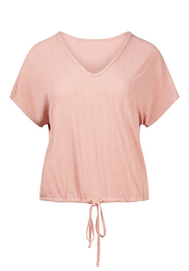 Women's Tie Front Top, ROSE, hi-res