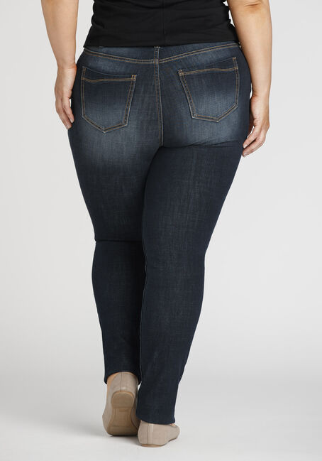 Ladies' Plus Size Destroyed Skinny Jeans, DARK WASH, hi-res