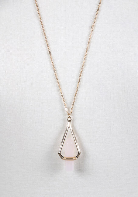 Ladies' Suspended Stone Necklace, ROSE GOLD, hi-res