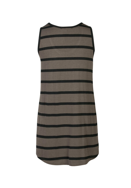 Ladies' Stripe Scoop Neck Tank, MOSS/BLK, hi-res