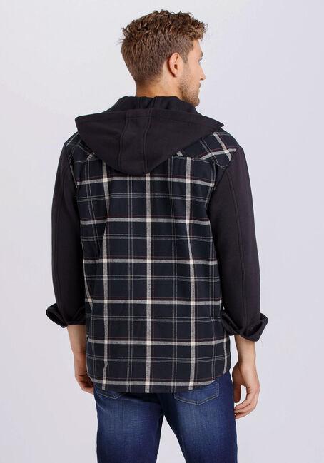 Men's Hooded Flannel Shirt, BLACK, hi-res