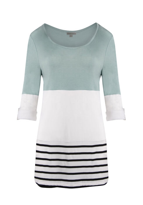 Ladies' Colour Block Stripe Top, MINT, hi-res