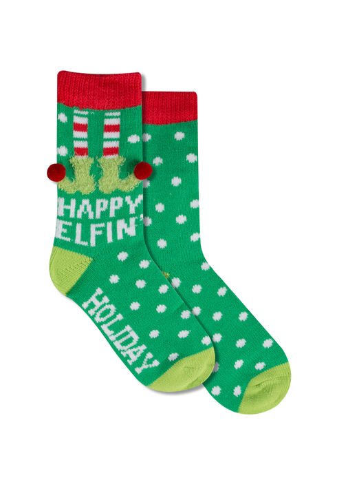 Ladies' Happy Elfin' Holiday Socks, GREEN, hi-res