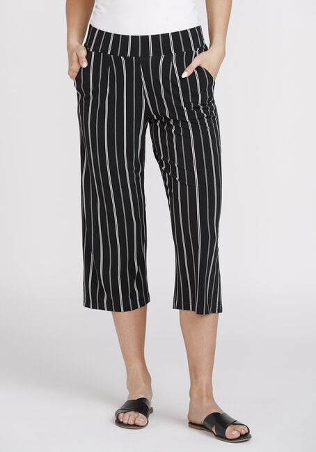 Women's Stripe Cropped Wide Leg Capri
