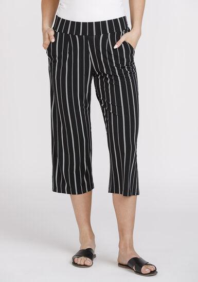 Women's Stripe Cropped Wide Leg Capri, BLK/WHT, hi-res