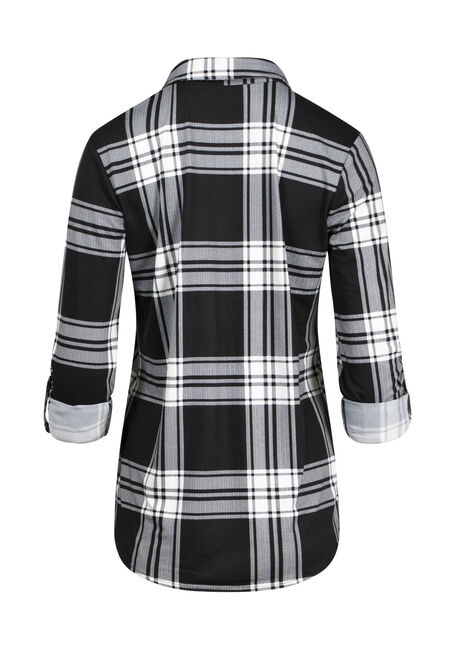 Women's Black White Knit Plaid Shirt, BLACK/WHITE, hi-res