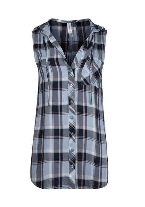 Women's Hooded Plaid Shirt, ROBINS EGG, hi-res