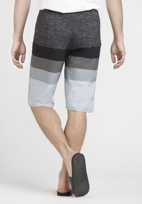 Men's Colour Block Board Shorts, BLACK, hi-res