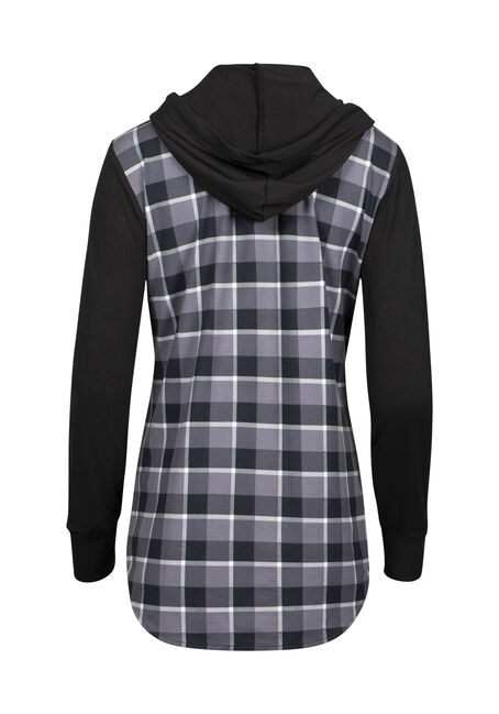 Women's Hooded Plaid Shirt, BLACK, hi-res