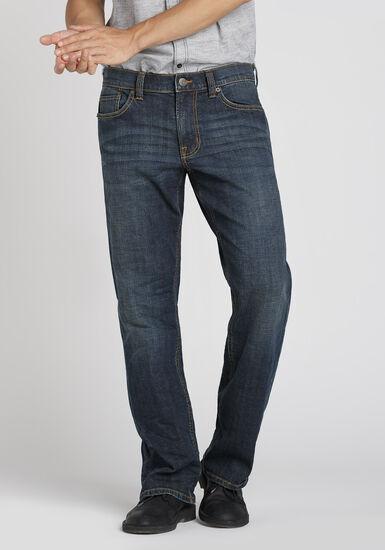 Men's Dark Indigo Wash Classic Straight Jeans, DARK WASH, hi-res