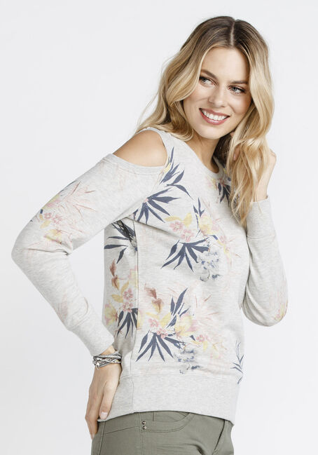 Women's Floral Cold Shoulder Fleece, OATMEAL, hi-res