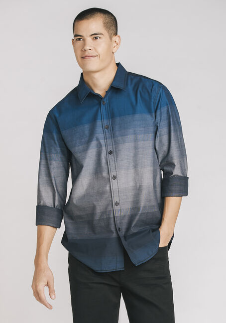 Men's Ombre Striped Shirt, ROYAL BLUE, hi-res