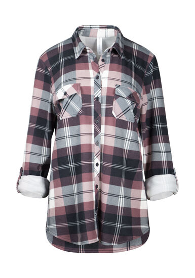 Women's Relaxed Fit Knit Plaid Shirt, Rosewood, hi-res