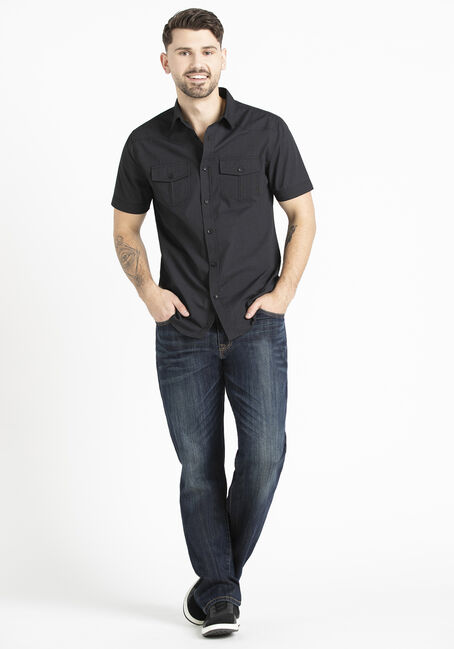 Men's 2 Pocket Tonal Mini Stripe Shirt, BLACK, hi-res