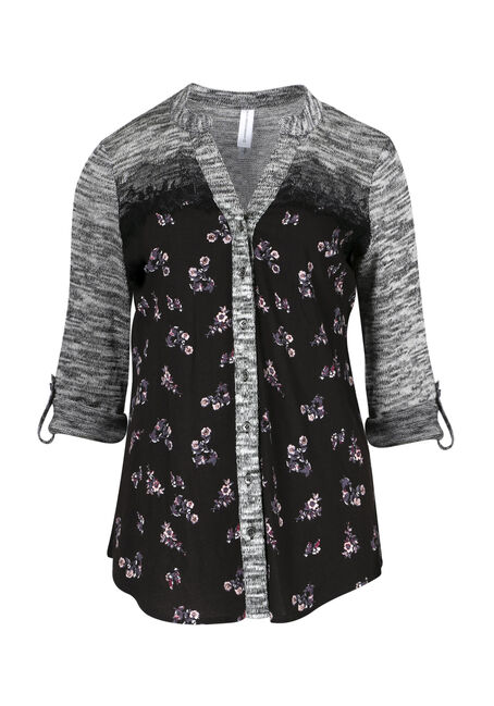 Ladies' Floral Roll Sleeve Shirt