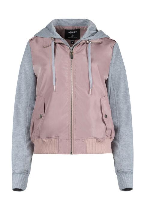 Ladies' Hooded Bomber Jacket, PINK, hi-res