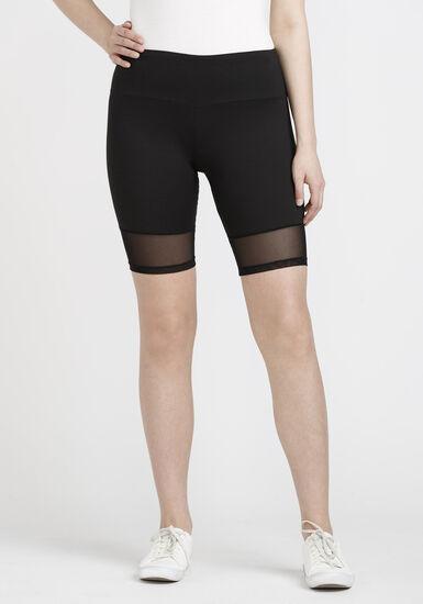 Women's Mesh Trim Bike Short, BLACK, hi-res