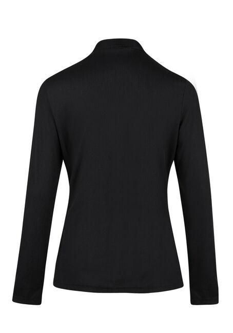 Ladies' Rib Knit Choker Top, BLACK, hi-res