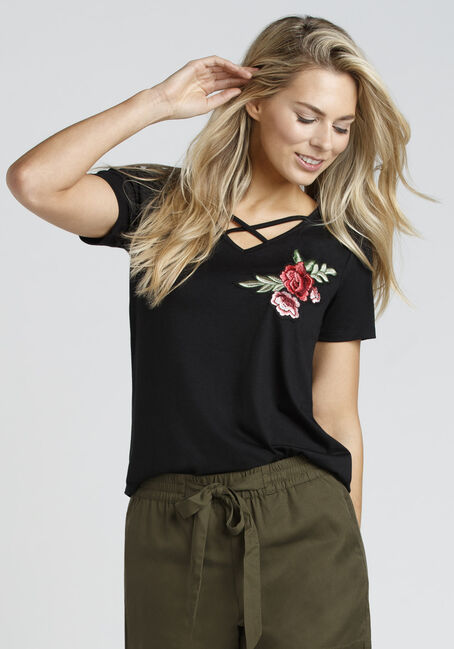 Ladies' Cage Neck Floral Embroidered Tee, BLACK, hi-res