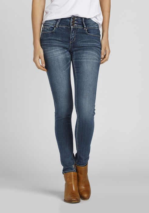 Ladies' High Rise Skinny Jeans, MEDIUM WASH, hi-res