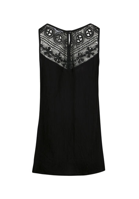 Ladies' Floral Embroidered Tank, BLACK, hi-res