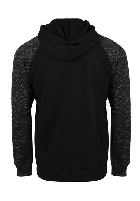 Men's Quilted Raglan Hoodie, BLACK, hi-res