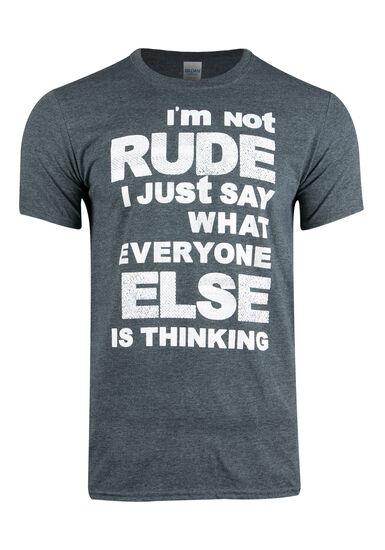 Men's I'm Not Rude Tee, DK HEATHER GREY, hi-res