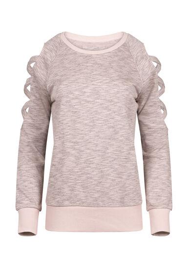 Women's Ladder Sleeve Fleece, DUSTY PINK, hi-res
