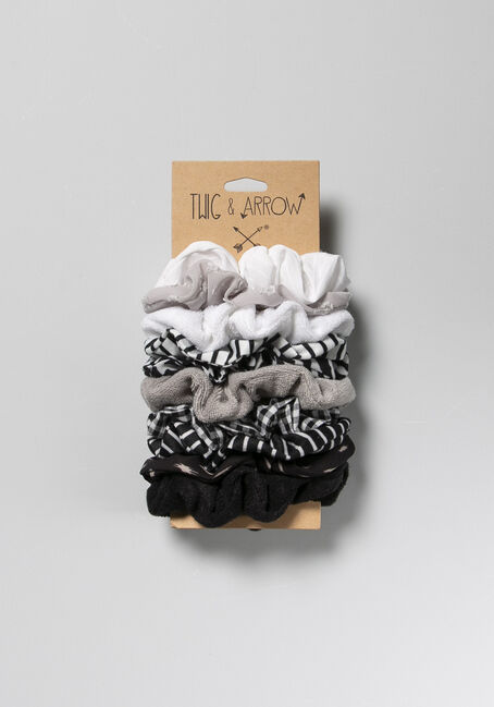 10 Pack Scrunchie Set, BLACK, hi-res