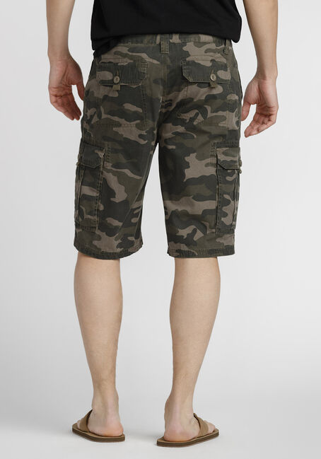 Men's Camo Cargo Short, DARK OLIVE, hi-res