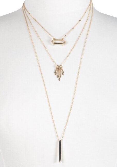 Women's Layered Necklace, RHODIUM, hi-res