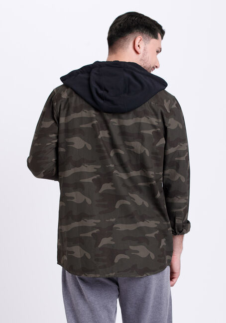 Men's Hooded Camo Canvas Work Jacket, CAMO, hi-res