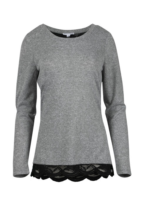 Women's Lace Insert Top, GREY, hi-res
