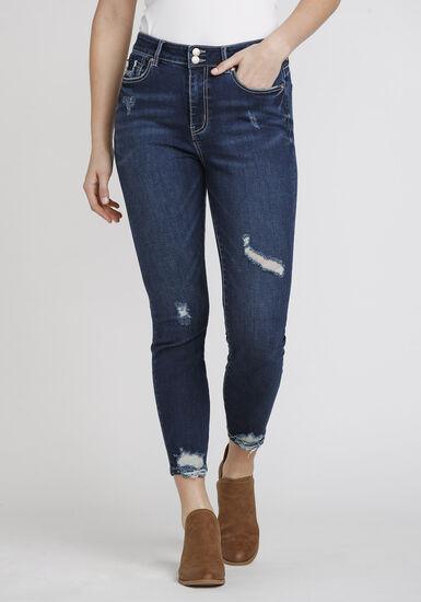 Women's Distressed Ankle Skinny Jeans, DENIM, hi-res