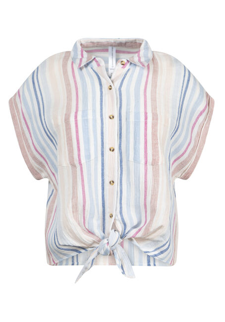 Women's Striped Tie-Front Shirt