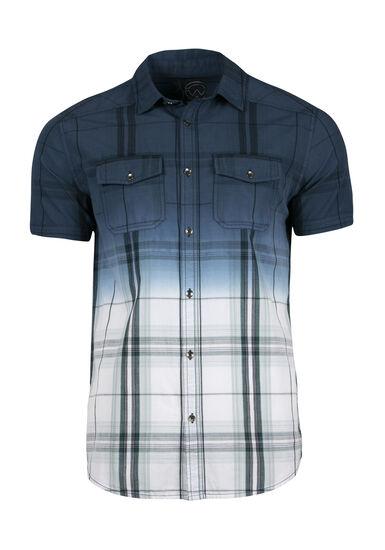 Men's Plaid Dip Dye Shirt, NAVY, hi-res