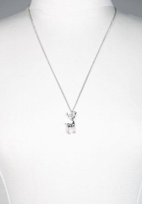Reindeer Necklace, SILVER, hi-res