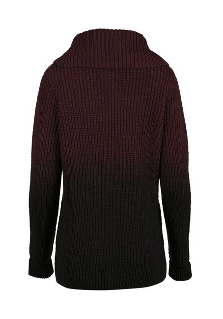 Ladies' Ombre Sweater, WINE/ BLACK, hi-res