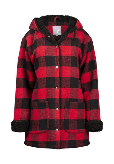 Women's Buffalo Plaid Coat, RED/BLK, hi-res