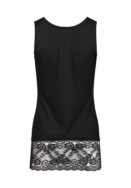 Women's Lace Trim Tunic Tank, BLACK, hi-res